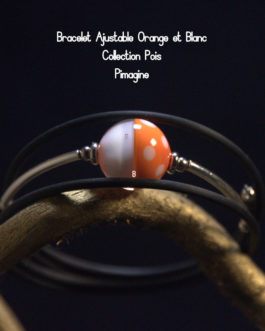 BRACELET AJUSTABLE ORANGE ET BLANC COLLECTION POIS