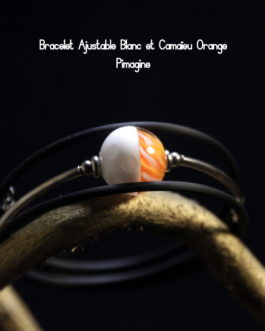 BRACELET AJUSTABLE BLANC ET CAMAIEU ORANGE