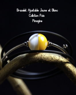 BRACELET AJUSATBLE JAUNE ET BLANC COLLECTION POIS