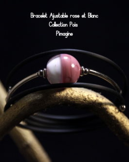 BRACELET AJUSATBLE ROSE ET BLANC COLLECTION POIS