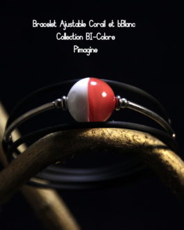 BRACELET AJUSTABLE CORAIL ET BLANC COLLECTION BI-COLORE